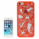 Hollow Engraving Butterfly Plastic Protective Case for iPhone 5 & 5s & SE (Red)