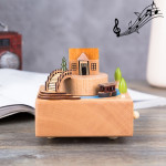 Jiangnan Ancient House Shape Home Decor Originality Wooden Musical Boxes