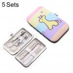 5 Sets 7 in 1 Stainless Steel Nail Care Clipper Pedicure Manicure Kits with Wooden Horse Pattern Case
