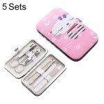 5 Sets 7 in 1 Stainless Steel Nail Care Clipper Pedicure Manicure Kits with Kitty Pattern Case