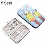 5 Sets 7 in 1 Stainless Steel Nail Care Clipper Pedicure Manicure Kits with Giraffe Pattern Case