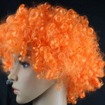 Colorful Wild-Curl Up Crown Party Cosplay Headwear Wavy Short Polyester Yarn Made Wigs For Adult And Child(Orange)