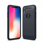 Brushed Texture Carbon Fiber Shockproof TPU Protective Back Case for iPhone X / XS (Navy Blue)