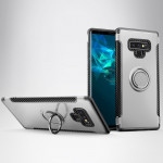 Magnetic Armor Protective Case for Galaxy Note 9, with 360 Degree Rotation Ring Holder(Silver)