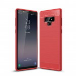 Brushed Texture Carbon Fiber Shockproof TPU Case for Galaxy Note 9(Red)