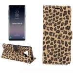 Leopard Pattern Horizontal Flip PU Leather Case for Galaxy Note 9, with Holder & Card Slot & Wallet(Yellow)