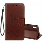 Embossed Butterfly Pattern Horizontal Flip Leather Case with Card Slot & Holder & Wallet & Lanyard For iPhone XR (Brown)