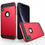 Brushed Texture Shockproof Rugged Armor Protective Case for iPhone XR(Red)