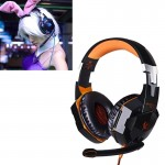 EACH G2000 Over-ear Stereo Bass Gaming Headset with Mic & LED Light for Computer, Cable Length: 2.2m(Orange)