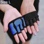 Half Finger Yoga Gloves Anti-skid Sports Gym Palm Protector, Size: L, Palm Circumference: 19cm (Blue)