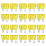 100 PCS Auto Mini Blade Fuse, DC 12V 20A(Yellow)