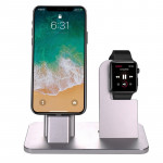 2 In 1 Aluminum Alloy Charging Dock Stand Holder Station, For Apple Watch Series 3 / 2 / 1 / 42mm / 38mm, iPhone X / 8 / 8 Plus