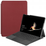 Custer Texture Laptop Bag Leather Case for Microsoft Surface Go(Wine Red)