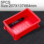 5 PCS Thick Multi-function Material Box Brand New Flat Plastic Parts Box Tool Box, Size: 207mm X 137mm X 64mm(Red)