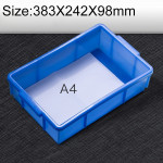 Thick Multi-function Material Box Brand New Flat Plastic Parts Box Tool Box, Size: 383mm X 242mm X 98mm(Blue)