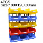 4 PCS Thickened Oblique Plastic Box Combined Parts Box Material Box, Random Color Delivery, Size: 180mm X 120mm X 80mm