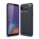 Brushed Texture Carbon Fiber TPU Case for Galaxy A6s (Navy Blue)