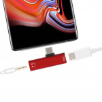 2 in 1 USB-C / Type-C Male to USB-C / Type-C Female 3.5mm Jack Charging Listening Adapter (Red)