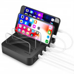 Multi-function AC 100V~240V Output 4 Ports USB-C / Type-C Double PD Detachable Charging Station Smart Charger,Support QC3.0(Blac