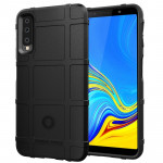 Shockproof Protector Cover Full Coverage Silicone Case for Galaxy A7 2018 (Black)