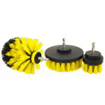 3 PCS Bathroom Kitchen Cleaning Brushes Kit for Electric Drill (Yellow)