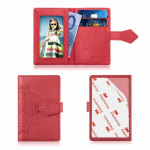 Embossed Texture Multi-functional Wallet Card Bag Can be Attached to The Phone Or The Car (Red)