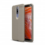 Litchi Texture TPU Shockproof Case for Nokia 3.1Plus / X3 (Grey)