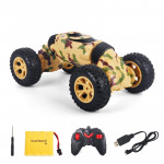 1086 Rechargeable 4 Channels Deformation Stunt Twisting Car Toy Car(Yellow)