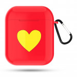 Heart Pattern Apple Wireless Earphones Charging Box Dust-proof Shockproof Outdoor Protective Case for Airpods(Red)