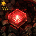 IP68 Waterproof Solar Powered Tempered Glass Outdoor LED Buried Light Garden Decoration Lamp with 0.2W Solar Panel(Red Light)