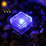 IP68 Waterproof Solar Powered Tempered Glass Outdoor LED Buried Light Garden Decoration Lamp with 0.2W Solar Panel(Blue Light)