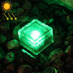 IP68 Waterproof Solar Powered Tempered Glass Outdoor LED Buried Light Garden Decoration Lamp with 0.2W Solar Panel(Green Light)