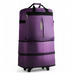 91L Retractable Suitcase Foldable Unisex Suitcase Lockable Travel Spinner Rolling Trolley Clothing Bag(Dark Purple)