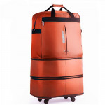 91L Retractable Suitcase Foldable Unisex Suitcase Lockable Travel Spinner Rolling Trolley Clothing Bag(Orange)