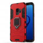 PC + TPU Shockproof Protective Case for Galaxy S9 , with Magnetic Ring Holder (Red)
