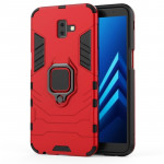 PC + TPU Shockproof Protective Case for Galaxy J6 Prime, with Magnetic Ring Holder (Red)