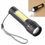A2 USB Charging Waterproof Zoomable XPE + COB Flashlight with 3-Modes & Storage Box