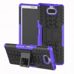 Tire Texture TPU+PC Shockproof Case for Sony Xperia XA3, with Holder (Purple)
