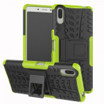 Tire Texture TPU+PC Shockproof Case for Sony Xperia L3, with Holder (Green)