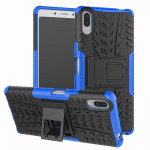 Tire Texture TPU+PC Shockproof Case for Sony Xperia L3, with Holder (Blue)