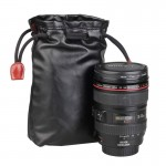 Soft PU Leather + Villus Storage Bag with Stay Cord for Camera Lens, Size: 100mm x 65mm x 190mm