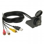 USB 2.0 & 3 RCA Male to USB 2.0 & 3.5mm Female Adapter Cable with Car Flush Mount, Length: 2m