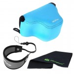 NEOpine Neoprene Soft Triangle Camera Bag + Hand Strap + Cleaning Cloth Set for Samsung NX3000 Camera 20-50mm Lens(Blue)