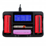 YS-4 Universal 18650 26650 Smart LCD Four Battery Charger with Micro USB Output for 18490/18350/17670/17500/16340 RCR123/14500/1