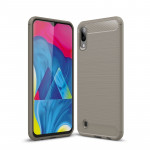 Brushed Texture Carbon Fiber Shockproof TPU Case for Galaxy M10(Grey)