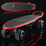 Shining Fish Plate Scooter Single Tilt Four Wheel Skateboard with 72mm Grinding Wheel (Black Red)
