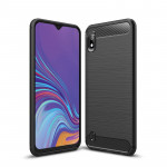Brushed Texture Carbon Fiber Shockproof TPU Case for Galaxy A10(Black)