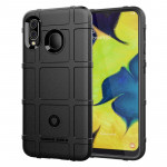 Shockproof Rugged Shield Full Coverage Protective Silicone Case for Galaxy A20 (Black)