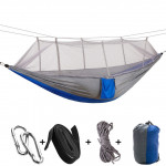 1-2 Person Outdoor Mosquito Net Parachute Hammock Camping Hanging Sleeping Bed Swing Portable Double Chair, 260 x 140cm(blue g
