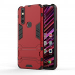 Shockproof PC + TPU Case for VIVO V15, with Holder (Red)